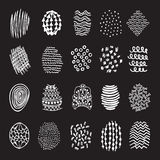 Set of 20 hand drawn textures. Design elements, doodles patterns of pen art and pencil, vector Royalty Free Illustration