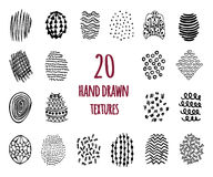 Set of 20 hand drawn textures. Design elements, doodles patterns of pen art and pencil, vector Vector Illustration