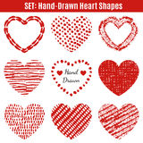 Set of hand-drawn textures heart shapes Stock Images