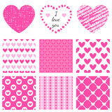Set of hand-drawn textures heart shapes and Stock Images