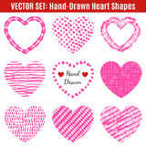 Set of hand-drawn textures heart shapes.  Vector Stock Photos