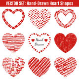 Set of hand-drawn textures heart shapes.  Vector Stock Images
