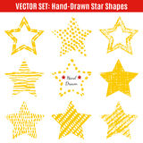 Set of hand-drawn textures star shapes.  Vector Stock Images