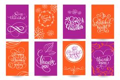 Set of Hand drawn Thanksgiving Day texts. Celebration quotes Happy Thanksgiving, Hello fale, Giving thanks, Grateful vector illustration