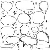Set of hand drawn think and talk speech bubbles with love message, greetings and sale ad. royalty free illustration