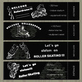 Set hand drawn tickets on Rollerdrom with Roller Skate on chalk Stock Photo