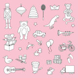 Set of hand drawn toys Stock Photography
