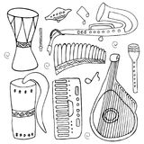 Set of hand drawn traditional Slavic, Ukrainian musical instruments isolated on a white background. vector illustration