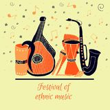 Set of hand drawn traditional Slavic, Ukrainian musical instruments. stock illustration
