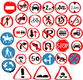 Set of hand drawn traffic signs Royalty Free Stock Photo