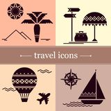 Symbols of travel in a flat style. stock illustration