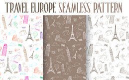 Set of Hand Drawn Travel Europe Seamless Pattern Royalty Free Stock Images