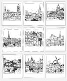 Set of hand drawn travel photographs. Set of hand drawn photographs with different travel destinations from around the world Royalty Free Stock Image