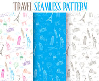 Set of Hand Drawn Travel the World Seamless Pattern Royalty Free Stock Image