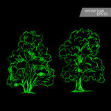 Set of hand drawn tree sketches. Artistic drawing. Royalty Free Stock Images