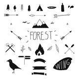 Set of hand drawn tribal design elements. Hike. Camping. Forest design Royalty Free Stock Photo