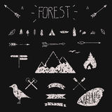 Set of hand drawn tribal design elements. Hike. Camping. Forest design. Texture Stock Photography