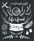 Set of hand drawn tribal elements and dividers. Royalty Free Stock Image