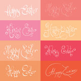 Set  of hand drawn typograhy Happy Easter Stock Photo