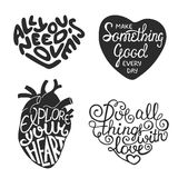Set of hand drawn typography design element in heart shape Stock Photo