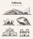 Set of hand-drawn Valencia buildings.Valencia elements sketch vector illustration vector illustration