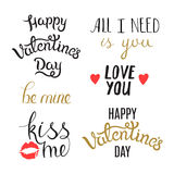 Set of Hand Drawn Valentine Day Phrases Stock Images