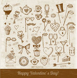 Set of hand-drawn Valentines Day elements Royalty Free Stock Photo