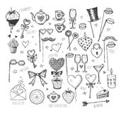 Set of hand-drawn Valentines Day elements Royalty Free Stock Photography