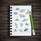 Set of Hand Drawn Various Elements Royalty Free Stock Photos