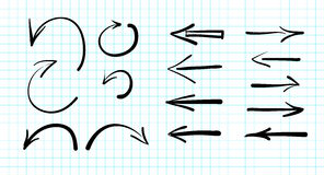 Set of hand-drawn vector arrow doodles Royalty Free Stock Photos