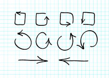 Set of hand-drawn vector arrow doodles Royalty Free Stock Image
