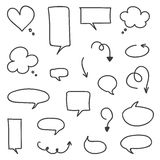 Set of hand-drawn vector arrows and speech bubbles Royalty Free Stock Photography