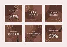 Creative Sale headers or banners with discount offer for social media mobile apps royalty free illustration