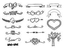 Set of hand drawn vector banner heart curls and borders. Vector illustration Stock Image