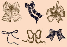 Set of Hand drawn vector of Bows. Stock Photo