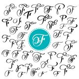 Set of Hand drawn vector calligraphy letter F. Script font. Isolated letters written with ink. Handwritten brush style. Hand lettering for logos packaging Stock Photo