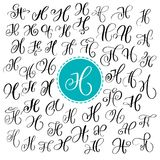 Set of Hand drawn vector calligraphy letter H. Script font. Isolated letters written with ink. Handwritten brush style royalty free illustration