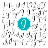 Set of Hand drawn vector calligraphy letter I. Script font. Isolated letters written with ink. Set of Hand drawn vector calligraphy letter I. Script font Stock Image