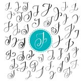 Set of Hand drawn vector calligraphy letter J. Script font. Isolated letters written with ink. Handwritten brush style. Hand lettering for logos packaging vector illustration