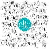 Set of Hand drawn vector calligraphy letter M. Script font. Isolated letters written with ink. Handwritten brush style vector illustration