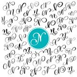 Set of Hand drawn vector calligraphy letter N. Script font. letters written with ink. Handwritten brush style stock illustration
