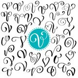 Set of Hand drawn vector calligraphy letter V. Script font. Isolated letters written with ink. Handwritten brush style stock illustration