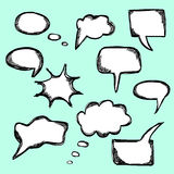 Set of hand drawn vector comical speech bubbles Stock Photography