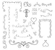 Set of hand drawn vector curls and borders Stock Image