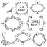 Set of hand drawn vector doodle frames on white background Royalty Free Stock Image