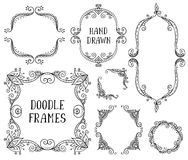 Set of hand drawn vector doodle frames on white background Royalty Free Stock Photo