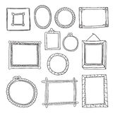 Set of hand drawn vector frames Stock Photos