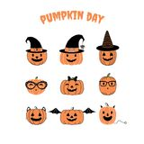 Funny Halloween pumpkins illustration. Set of hand drawn vector funny cartoon pumpkins with different faces, witch hats, glasses, ribbon, cat ears, whiskers, bat Royalty Free Stock Photo