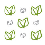 Set of hand-drawn vector green eco leaves icons Stock Photo