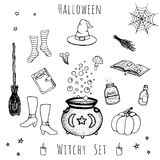 Set of hand drawn vector halloween elements. Royalty Free Stock Photo